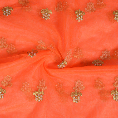 Orange and Golden Flower With Pearl Design Embroidery Net Fabric-60307