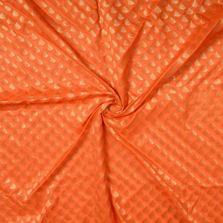 Orange and Golden Leaf Design Brocade Banarasi Silk Fabric-8477