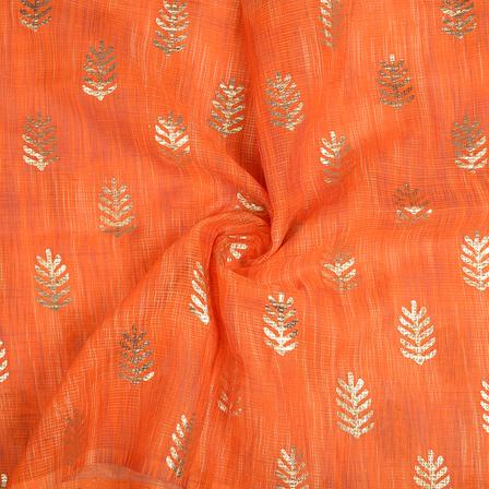 Orange and Golden Leaf Design Kota Doria Fabric-25107