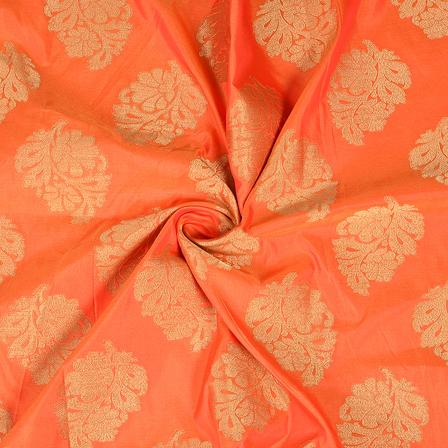 Orange and Golden Leaf Design Two Tone Banarasi Silk Fabric-8429
