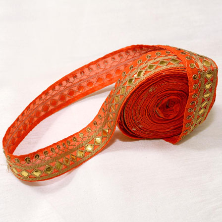 9 MTR Roll of Orange and Golden Leaf Pattern Aari Work Indian Lace-4020