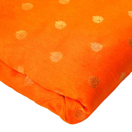 Orange and Golden Leaf Pattern Brocade Silk Fabric-8148