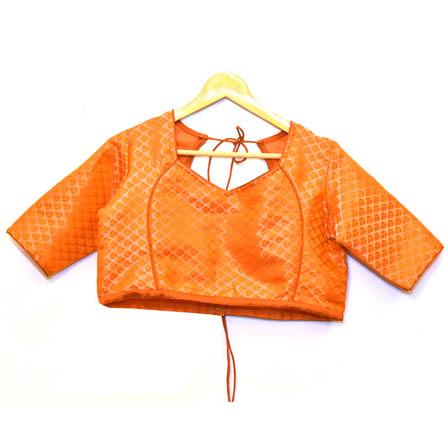 Orange and Golden Leaf Silk Brocade Blouse-30082