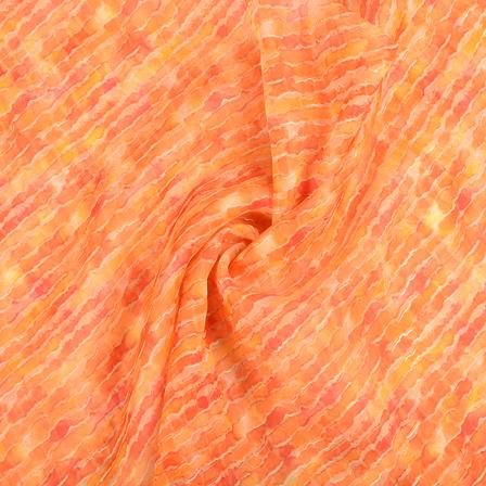 Orange and Golden Organza Foil Print Fabric-51304