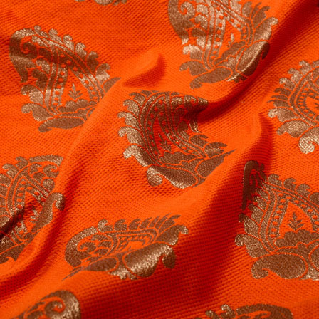 Orange and Golden Paisley Shape Brocade Silk Fabric-5321