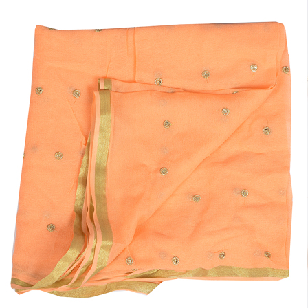 Orange Golden Polka Embroidery Chiffon Georgette Fabric-60382