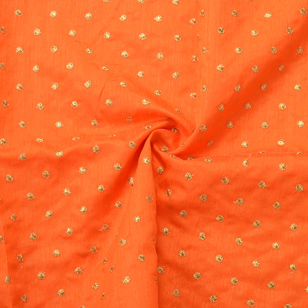 Orange and Golden Polka Dot Silk Embroidery Fabric-60158