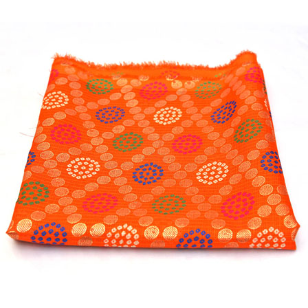 Orange and Golden Polka Pattern Kota Doria Fabric-25005