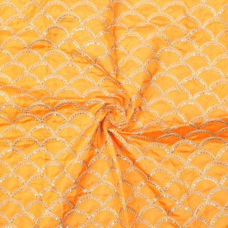 Orange and Golden Semi Circular Design Silk Embroidery Fabric-60145
