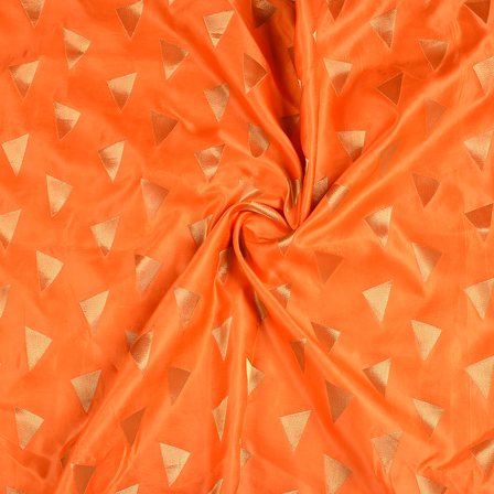 Orange and Golden Silk Satin Brocade Fabric-8672