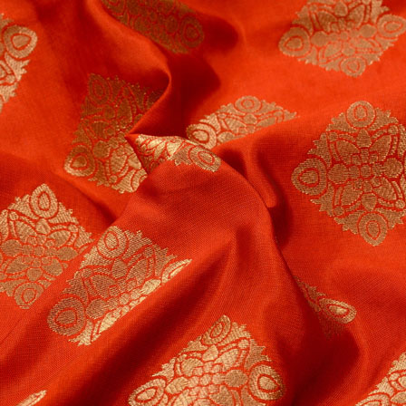 Orange and Golden Square Pattern Brocade Silk Fabric-5311