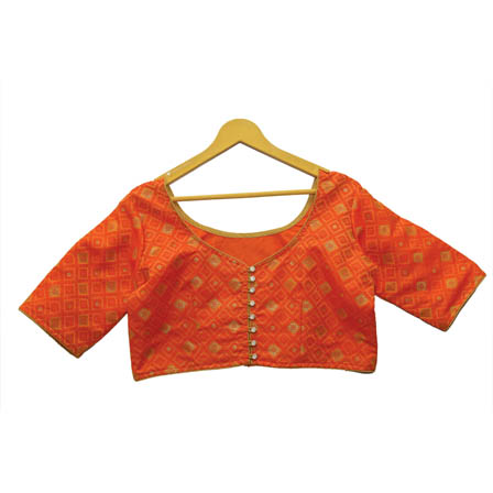 Orange and Golden Square Silk Brocade Blouse-30130