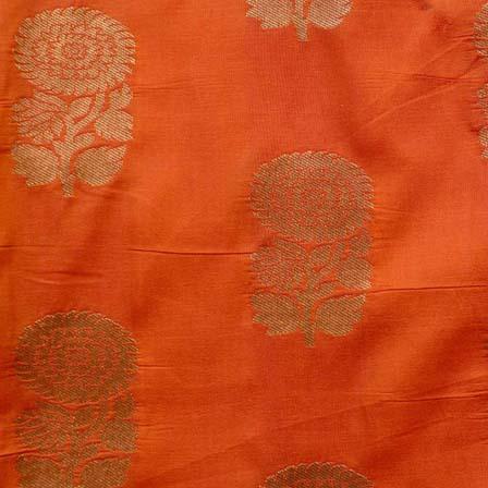 Orange and Golden Zari Flower Brocade Silk Fabric by the yard