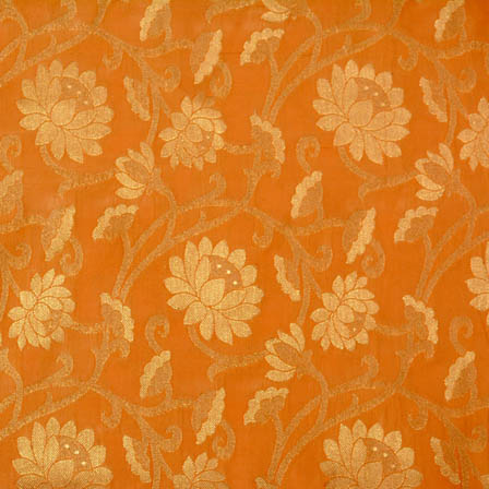 Orange and Golden flower pattern brocade silk fabric-4637