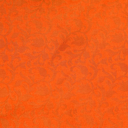 Orange and Golden flower shape brocade fabric-4675