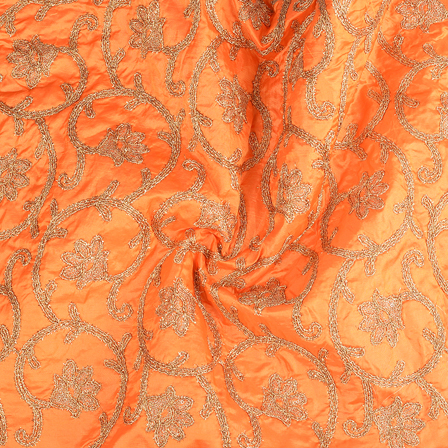 Orange and Golden leaf Design Paper Silk Embroidery Fabric-60601