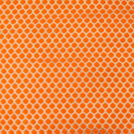 Orange and Golden polka pattern brocade silk fabric-4607