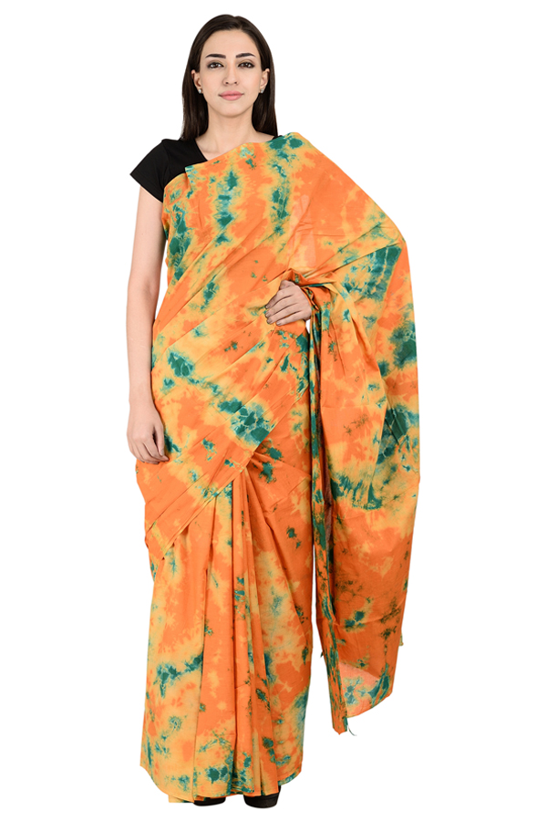 Orange and Green Cotton Batik Print Saree-20130