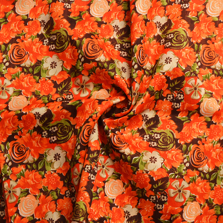 Orange and Green Floral Design Banglori Silk Fabric-4893
