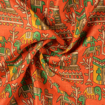 Orange and Green Kalamkari Manipuri Silk Fabric-16291