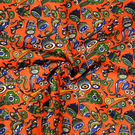 Orange and Green Musical Instrument Design Manipuri Kalamkari Silk Fabric-16182