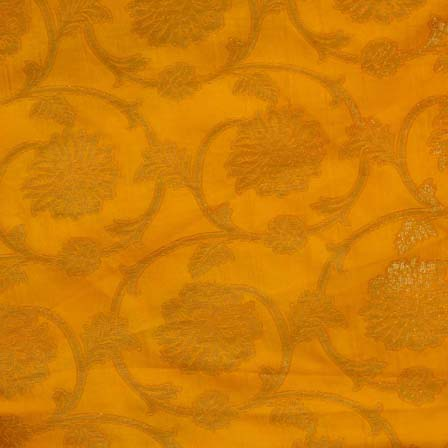 Orange and Light Brown Flower and Leaf Pattern Brocade Silk Fabric by the yard