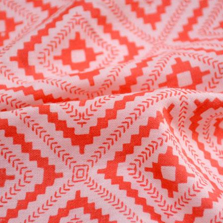 Orange and Peach Square Pattern Crepe Fabric-6006