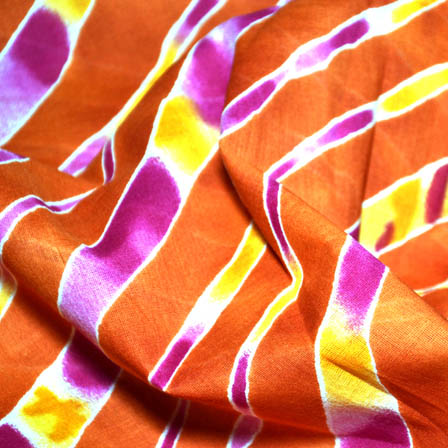 Orange and Pink Leharia Design MulMul Cotton Fabric-14142