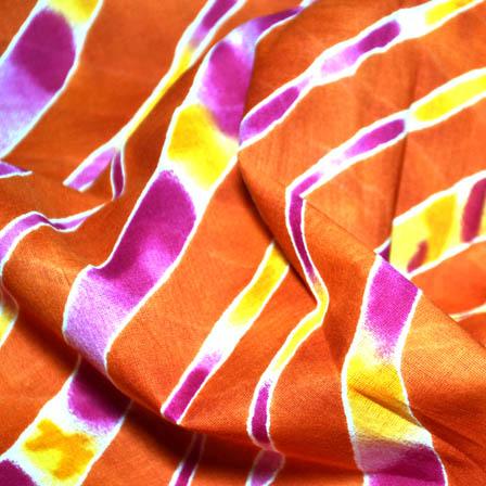 Orange and Pink Leharia Design MulMul Cotton Fabric-14142