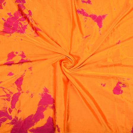 Orange and Pink Satin Batik Fabric-32060