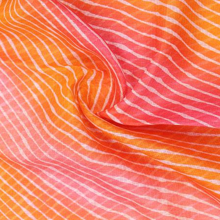 Orange and Pink White Leheriya Kota Doria Fabric-25147