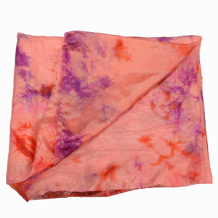 Orange and Purple Batik Satin Fabric-32033