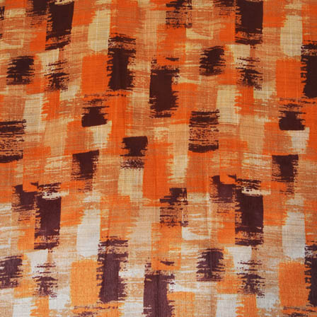 Orange and Purple Unique Digital Print On Beige Silk Fabric-24001