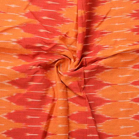 Orange and Red Unique Design Cotton Ikat Fabric-12075