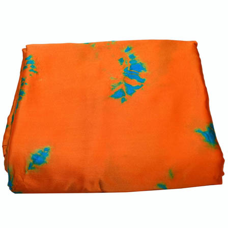 Orange and Sky Blue Batik Satin Fabric-32005