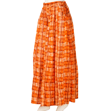 Orange and White Block Print Cotton Long Skirt-23044