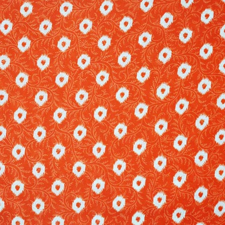 Orange And White Fl Pattern Screen Print Cotton Fabric By The Yard