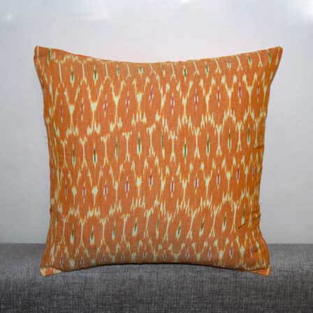 Orange and White Unique Ikat Print Cushion Cover