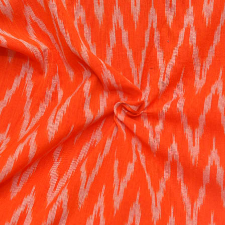 Orange and White Zig-Zag Pattern Ikat Fabric-12019