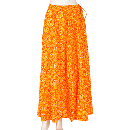Orange and Yellow Circular Design  Block Print Cotton Long Skirt-23058