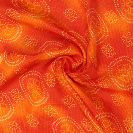 Orange and Yellow White Leheriya Kota Doria Fabric-25146