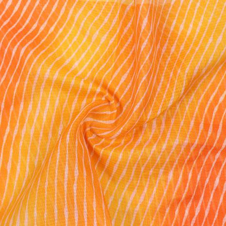 Orange and Yellow White Leheriya Kota Doria Fabric-25148