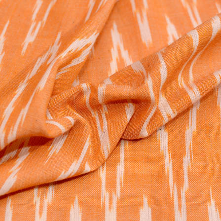 Orange and white zig zag ikat fabric-5087