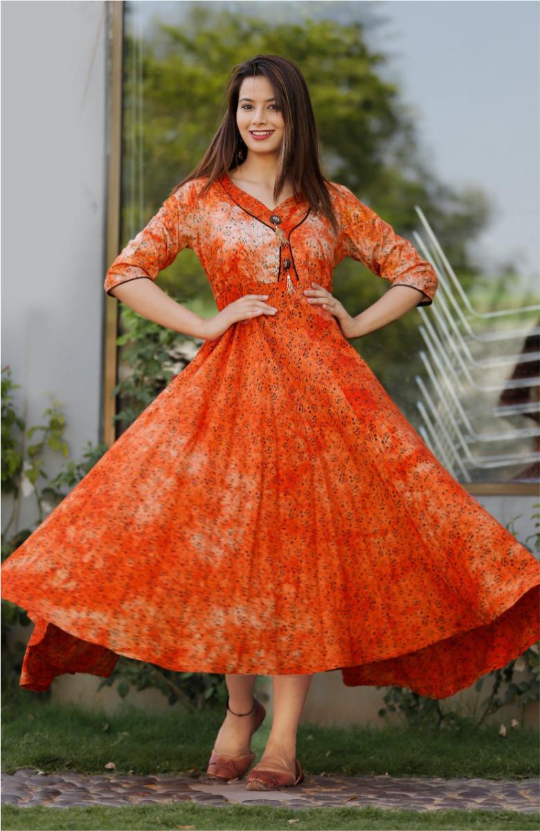Orange-White Orange discharge print dress-k114-33618