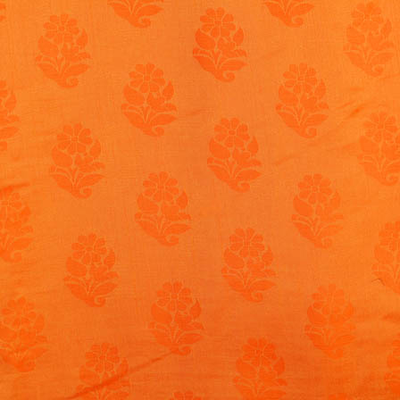 Orange flower shape soft brocade silk fabric-5064