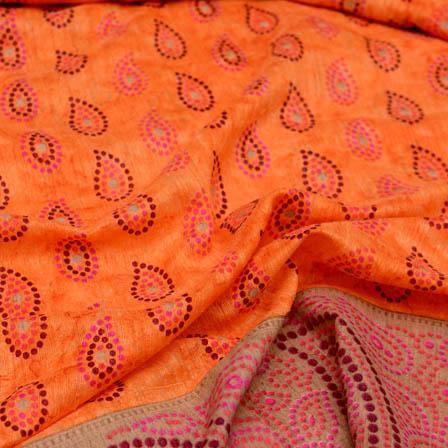 Orange paisley design foil printed kota doria fabric-4937
