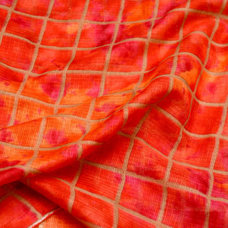 Orange square shape foil printed kota doria fabric-4932