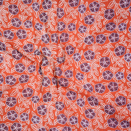 Orange white and Brown Block Print Cotton Fabric-14607