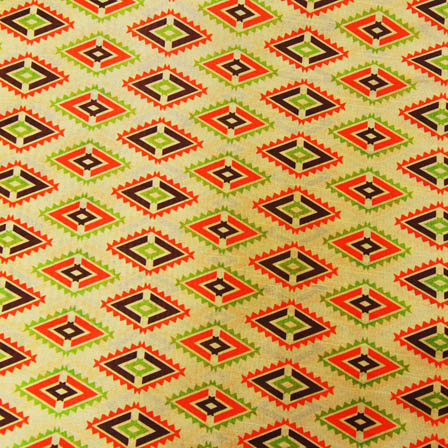 Orannge and Green Square Digital Print On Beige Silk Fabric-24022