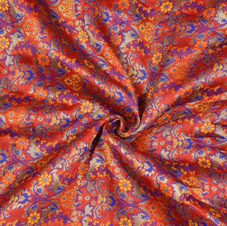 PInk Yellow Kinkhab Banarasi Brocade Silk Fabric-12825